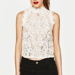 beautiful lacey tank top - high neck, zippered